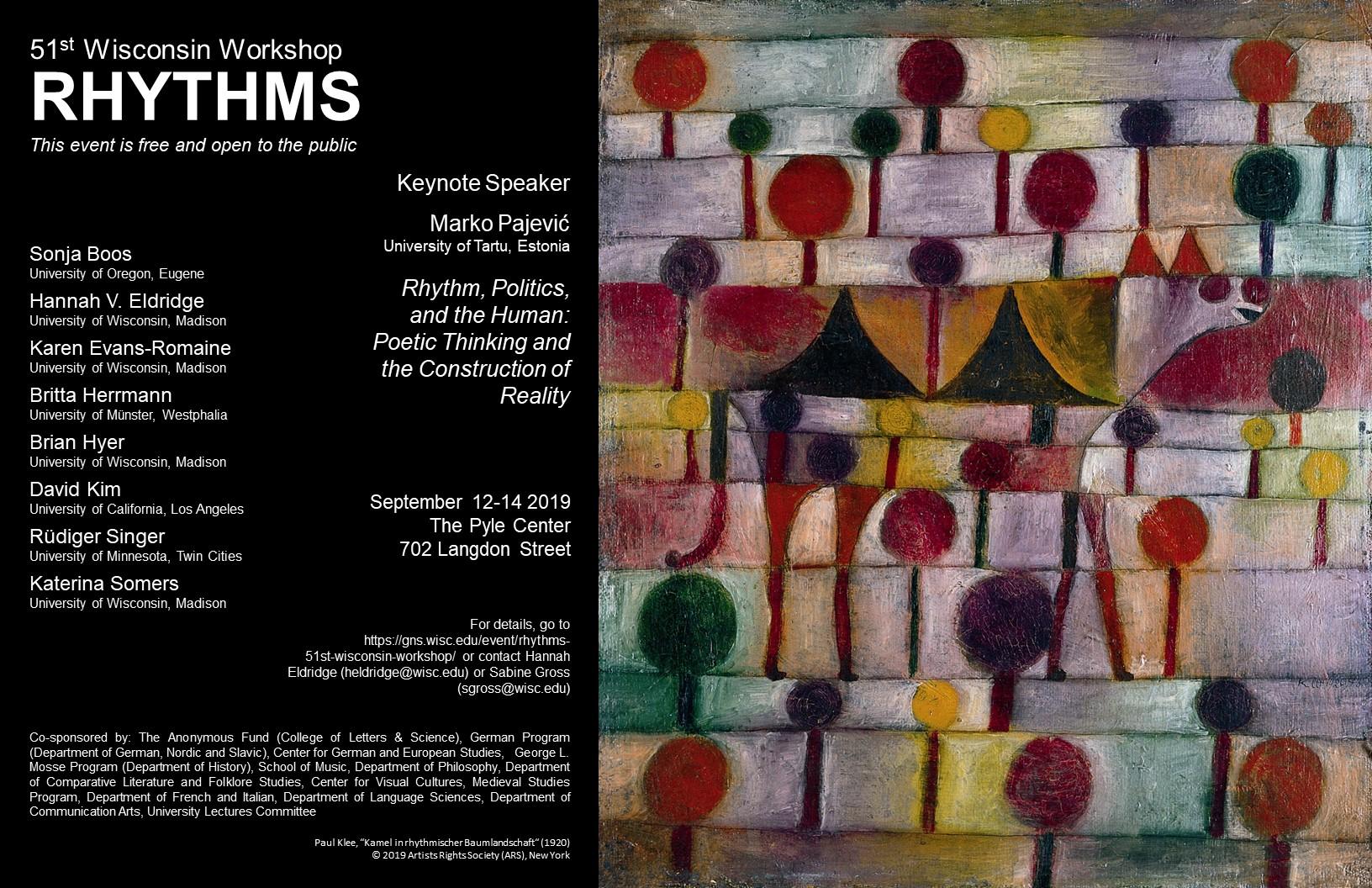 Rhythms: 51st Wisconsin Workshop @ Pyle Center | Madison | Wisconsin | United States