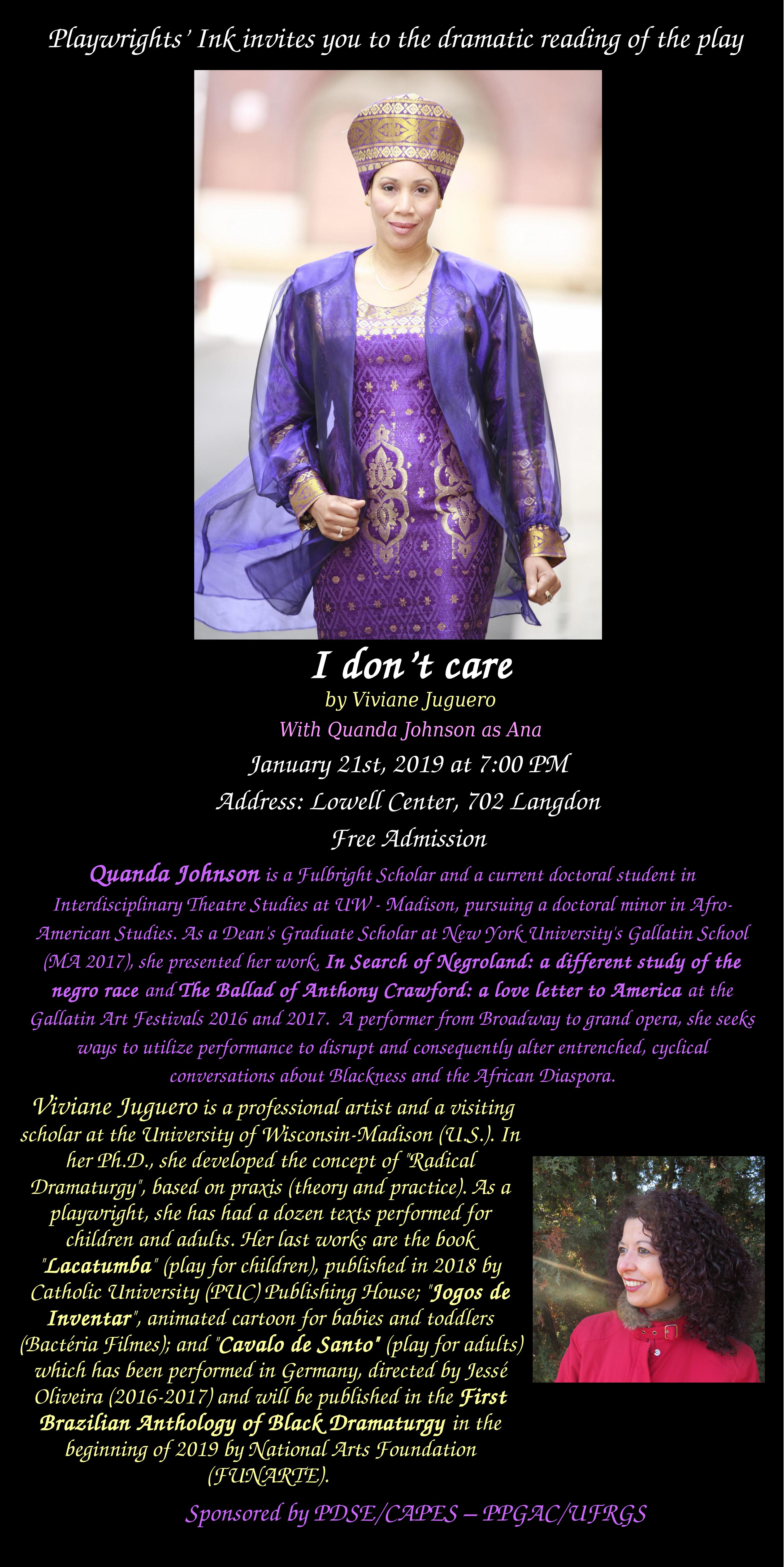"""Dramatic Reading of the Play """"I don't care"""". @ Lowell Center"""